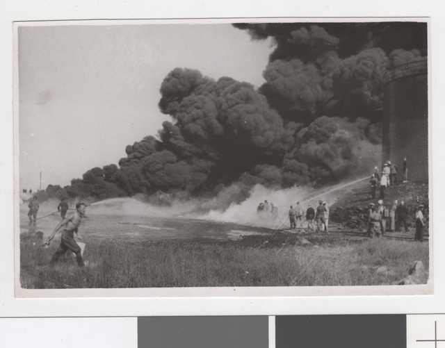 Etk oil cistern burning in 1940.