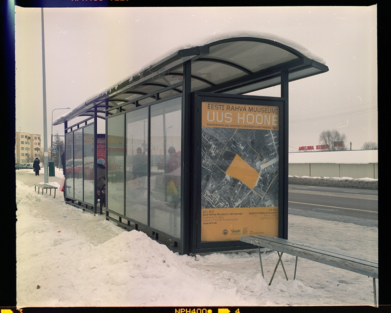 Field advertisement of the exhibition of the architectural competition of the new building of the Estonian National Museum in Tartu, 2006