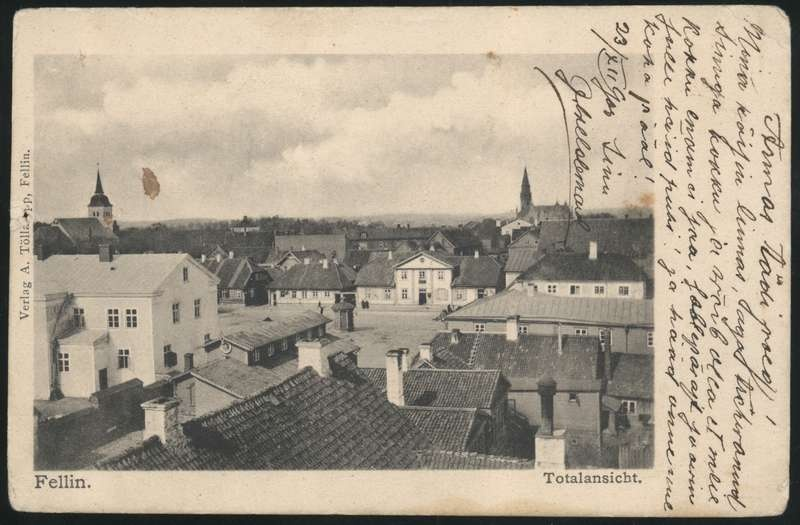Printing card, Viljandi, view from the tower of the building to the marketplace
