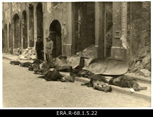 The bodies excavated by the 9th March bomb attack on Harju Street for the dead