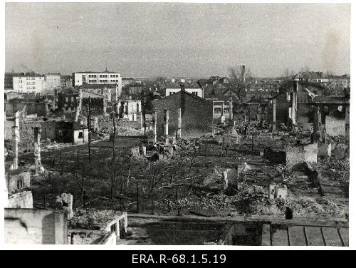 Consequences of March bombing in Tallinn: view of the destroyed houses from Lennuki Street