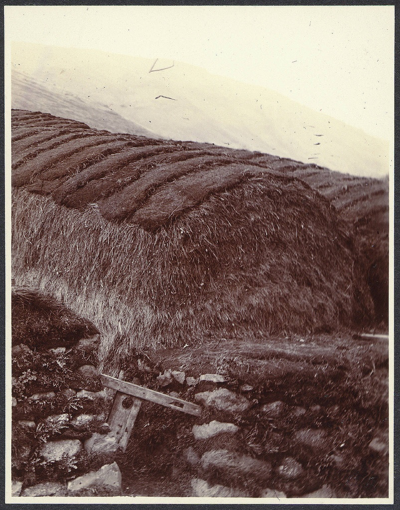 Haystacks roofed with sods. Laugarvatn.