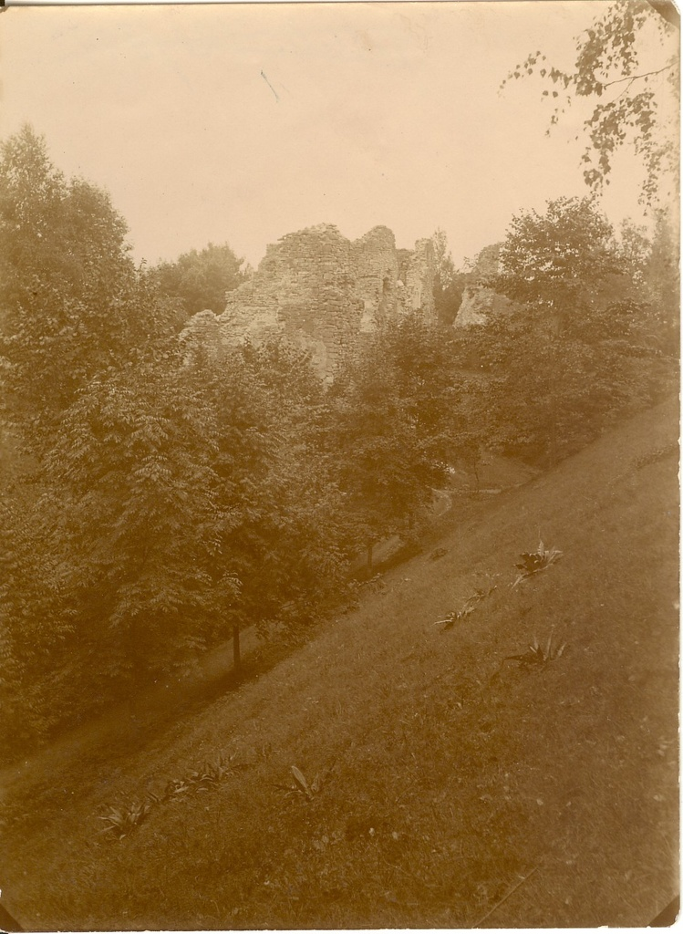 Photo, Viljandi (?) Castle ruins in 19th century.
