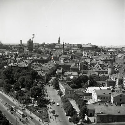 Tallinn views from Viru Hotel Street, view of Viru Tn and Old Town  similar photo