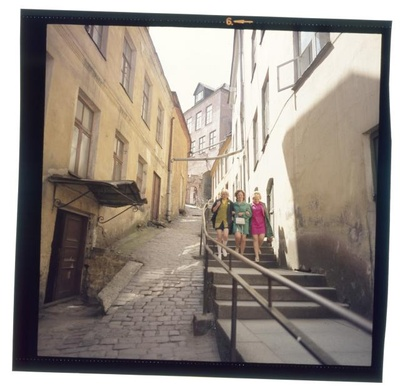 Short leg. In a narrow street, a long staircase.  similar photo